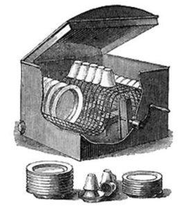 Вид в разрезе посудомоечной машины Джозефины Кокрейн